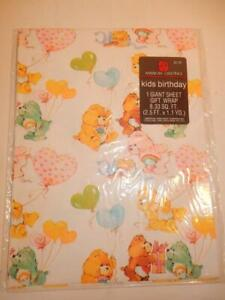 VINTAGE CARE BEARS BIRTHDAY GIFT WRAP 1980s WRAPPING PAPER AMERICAN GREETINGS