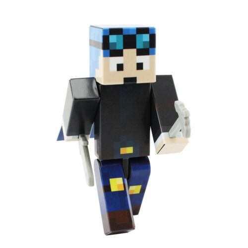 Blue Hair Miner Boy Action Figure Toy 4 Inch Custom Series Figurines by