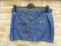Dorothy Perkins Blue Denim Button Front Skirt Size 12 BNWOT NEW