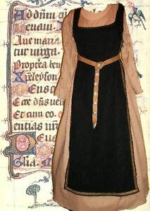 Details about SCA Garb Medieval Renaissance Gown Costume Black TabardTan  Kirtle 2pc Sdlcg LXL