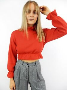 979f4e8eb RED KNIT JUMPER Cropped Turtleneck High Neck Ruffle Sweater Pullover ...
