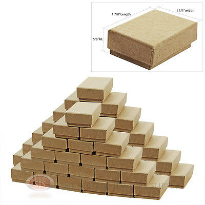 """(50) Cotton Filled Jewelry Gift Boxes 1 7/8"""" x 1 1/4"""" x 5/8""""H (48 x 33 x 16mm)"""