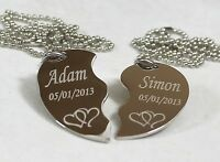 Split Heart Necklace Love Intertwined Hearts Stainless Steel Pendant Dog Tag