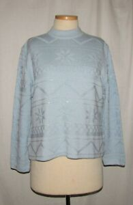 St-John-Sport-Blue-w-Embellished-Snowflakes-Wool-amp-Silk-Blend-Pullover-Sweater-L
