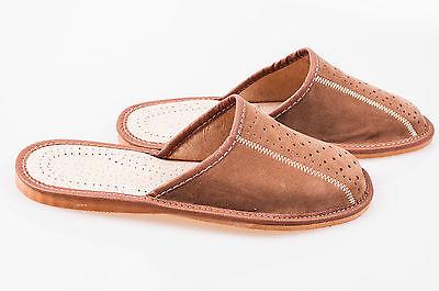 Los hombres `s Cuero Gamuza Zapatillas 100% Cuero Natural Talla Uk 6,7,8,9,10,11,12 marrón