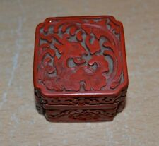 Good Antique Carved Red Cinnabar Asian Trinket Box with Dragon Hinged Lid