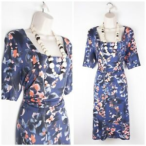 Phase-Eight-Blue-Floral-Jersey-Wiggle-Dress-UK16-Special-Occasion-Stretch