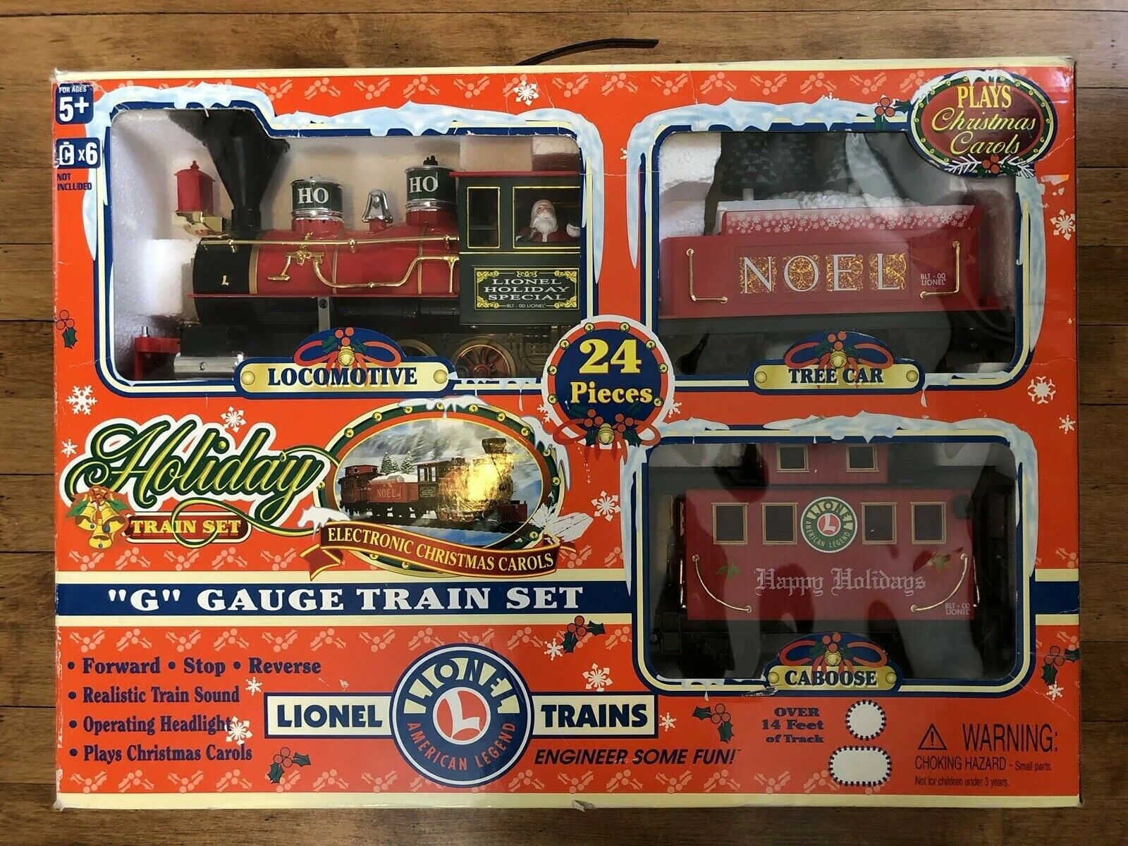 Lionel Battery Operated Christmas Holiday Toy Train Set w  Sounds G Gauge