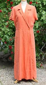 JOOP Vintage Kleid Orange Wickeloptik, 100 % Seide, Gr. 40