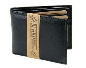 New-Mens-Bifold-Grain-Leather-Wallet-Black-Cards-Id-License-Thin-Slim-Soft-Hand