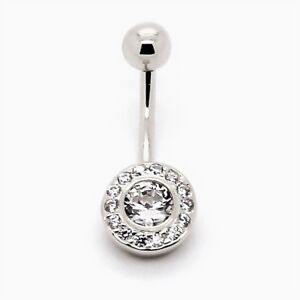 Details About 14k White Gold Cubic Zirconia Bezel Circle Belly Button Ring Piercing