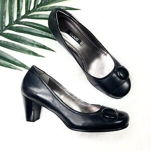 Ecco-Shoes-US-Size-7-EUR-37-Black-Leather-Heels-Classic-Wear-To-Work-Pumps