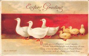 Ellen-H-Clapsaddle-Easter-Ducklings-Follow-Big-White-Ducks-Red-Banner-Embossed