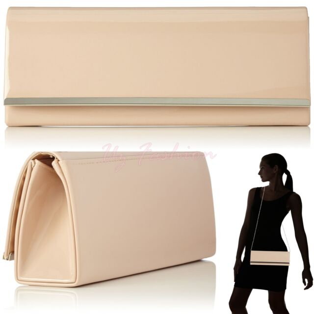 NEW NUDE PATENT LEATHER LADIES EVENING CLUTCH SHOULDER HAND BAG