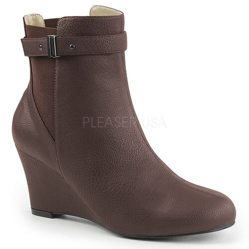 Pleaser KIMBERLY-102 Ankle Mid-Calf Boots Brown Faux Leather Wedge Heel shoes