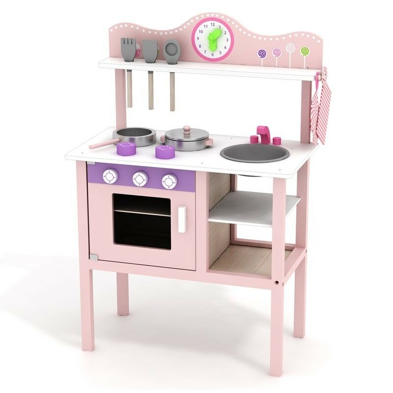 Girls Pink Wooden Kitchen Set Pretend Play Toy Cooking Chef Educational Gift Box
