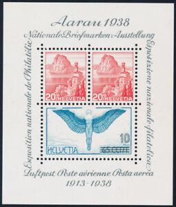 SCHWEIZ-1938-Block-4-tadellos-postfrisch-Mi-75