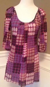 Sweet-Pea-By-Stacy-Frati-Anthropologist-M-Purple-3-4-Sleeve-Nylon-Top