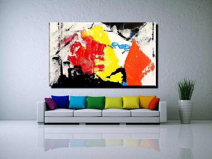 LEINWAND BILD BILDER XXL POP Kunst GRAFFITI ABSTRAKT BUNT ROT GELB BIS 150x90