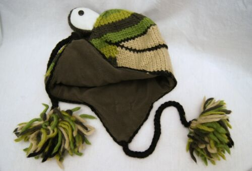 FROG HAT knit ADULT green Fleece LINING mens women ANIMAL SKI CAP costume toad