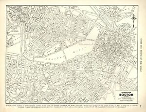 Details about VINTAGE CITY STREET MAP: DOWNTOWN BOSTON, MASSACHUSETTS -  RAND MCNALLY - 1939