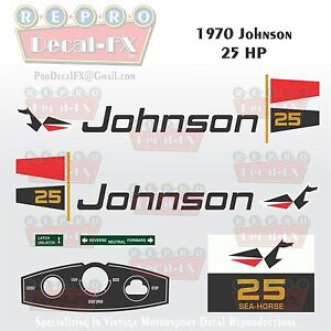 1971 Johnson 2 HP Sea Horse Outboard Reproduction 8Pc Marine Vinyl Decals 2R71