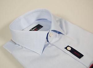 Camicia-moda-Ingram-Slim-Fit-Celeste-100-Cotone-No-Stiro-Cottonstir-Taglia-39-M