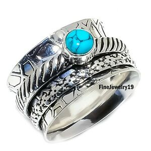Turquoise-Ring-925-Sterling-Silver-Spinner-Ring-Meditation-Statement-Jewelry-C10