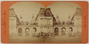 Hotel De Ville Lione Francia Foto Stereo Th2n38 Vintage Albumina c1875