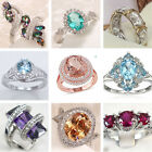 Large 925 Sterling Silver Natural Ruby Morganite & Sapphire Ring Women Jewelry