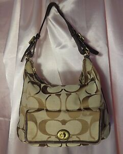 Coach-Tan-Canvas-Brown-Leather-Trim-Medium-Handbag-Condition-as-is