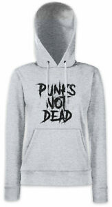 Punks-Not-Dead-I-Damen-Hoodie-Kapuzenpullover-DJ-MC-Experimental-Rock-New-Wave