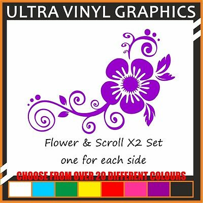 Flower & Scroll set x2 one for each of your car art vinyl graphic decal stickers