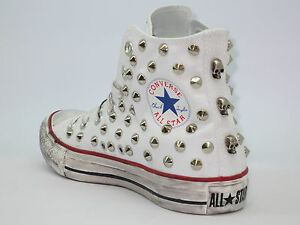 Converse all star Hi borchie teschi inv  scarpe bianco optical white artigianali