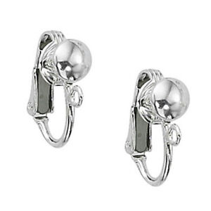 925-Sterling-Silver-Clip-On-w-6-5mm-Half-Ball-amp-Open-Ring-2-or-10-pcs