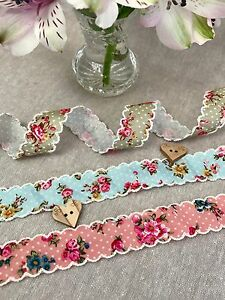 Vintage-Floral-Ribbon-Floral-Polka-Dot-with-Ivory-Lace-Scalloped-Edge-Trim