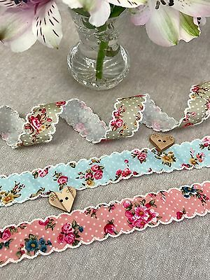 Floral Polka Dot with Ivory Lace Scalloped Edge Trim Vintage Floral Ribbon