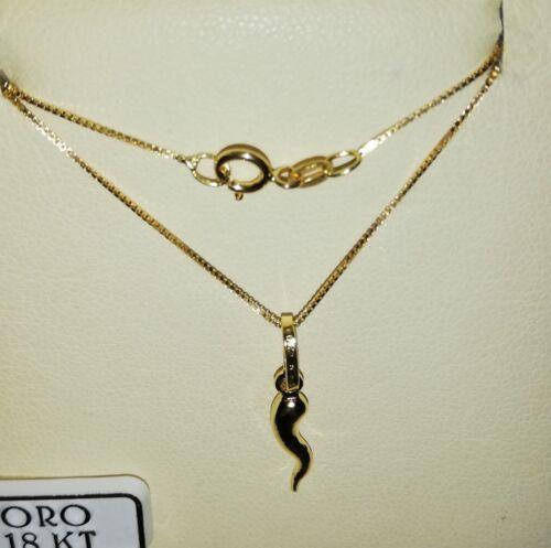 Collana veneziana e grazioso corno portafortuna  in oro giallo 750 18 kt nuovo