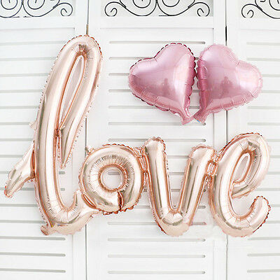 Rose Gold Love Heart Foil Balloon Engagement Wedding Birthday Party Decoration