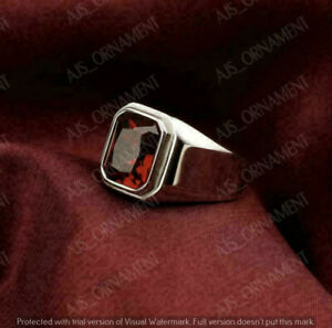 2Ct Radiant Cut Red Garnet Bezel Set men's Engagement Ring 14K Rose Gold Finish