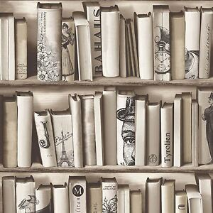 Bücherschrank Bücher Tapete Muriva e82208 beige NEU