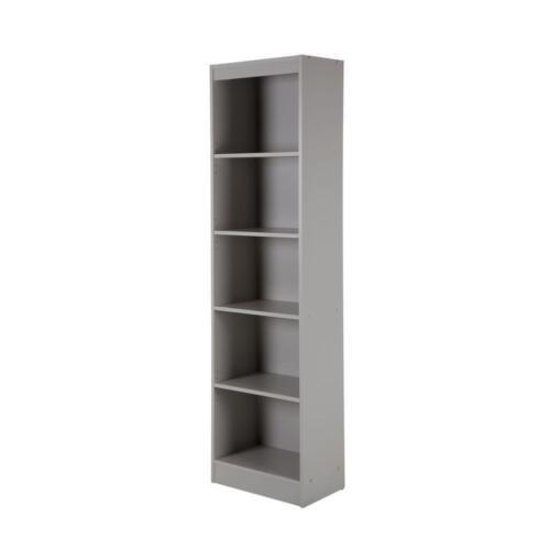 5-Shelf Adjustable Wooden Bookcase Shelves Tall Narrow Storage Home Office Dorm