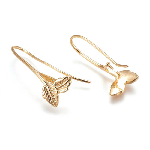 20 Gold Plated Brass Leaf Earring Hooks w// Pinch Bail End Earwire Findings 29mm