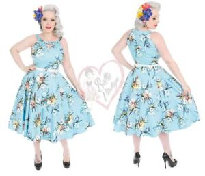 Abito 50s Roses cocktail Lizzy Mix Hearts da Rockabilly Vintage Blue Swing Floral axW66zn
