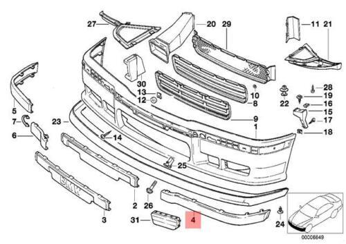 Genuine BMW E36 Cabrio Compact Coupe Impact Strip M Technic OEM 51112265637