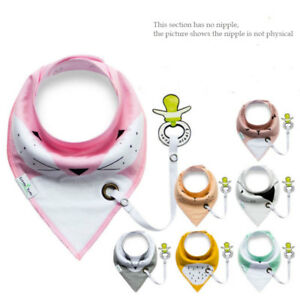Baby-Kids-Infant-Cotton-Triangle-Bibs-Saliva-Towel-With-Pacifier-Clip-Gift-Hot