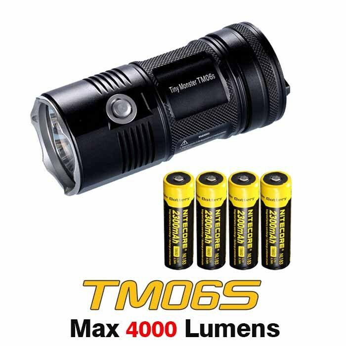 NiteCore TM06S 4xCree XM-L2 U3 LEDs 4000lms Search Flashlight Torch+Battery