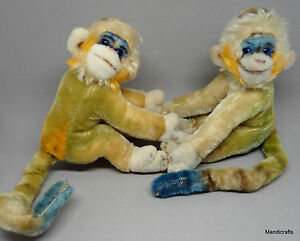 Steiff-Mungo-Monkey-x-2-Mohair-Plush-17cm-7in-Blue-Glass-Eyes-1960s-no-ID-Vtg