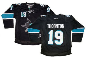 Joe Thornton  19 San Jose Sharks Reebok NHL Youth Black Premier ... 8017b49d3