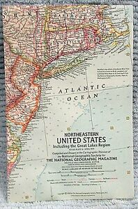 Details about Old 1959 National Geographic Vintage Map Northeastern United  States FREE S/H